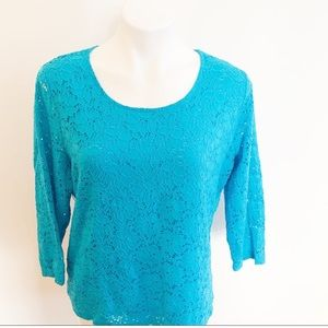 Chico's Lace Overlay Shirt Top Turquoise Sz Large
